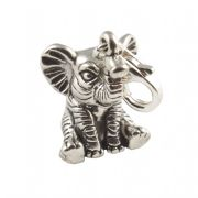 Baby Elephant 3D Sterling Silver Clip On Charm - With Clasp